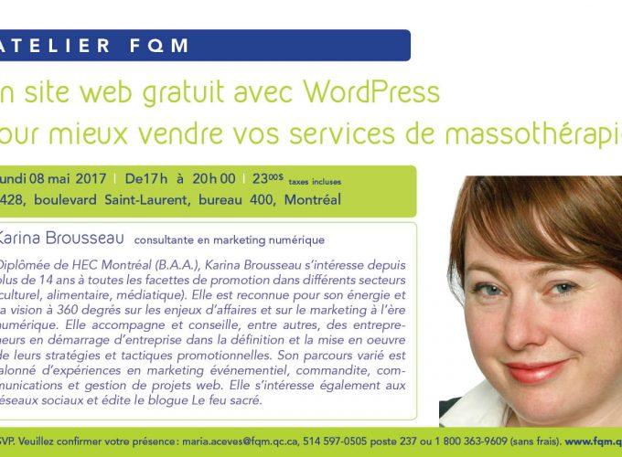 Atelier FQM | Un site web gratuit avec WordPress